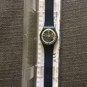 Swatch dark blue silicone watch